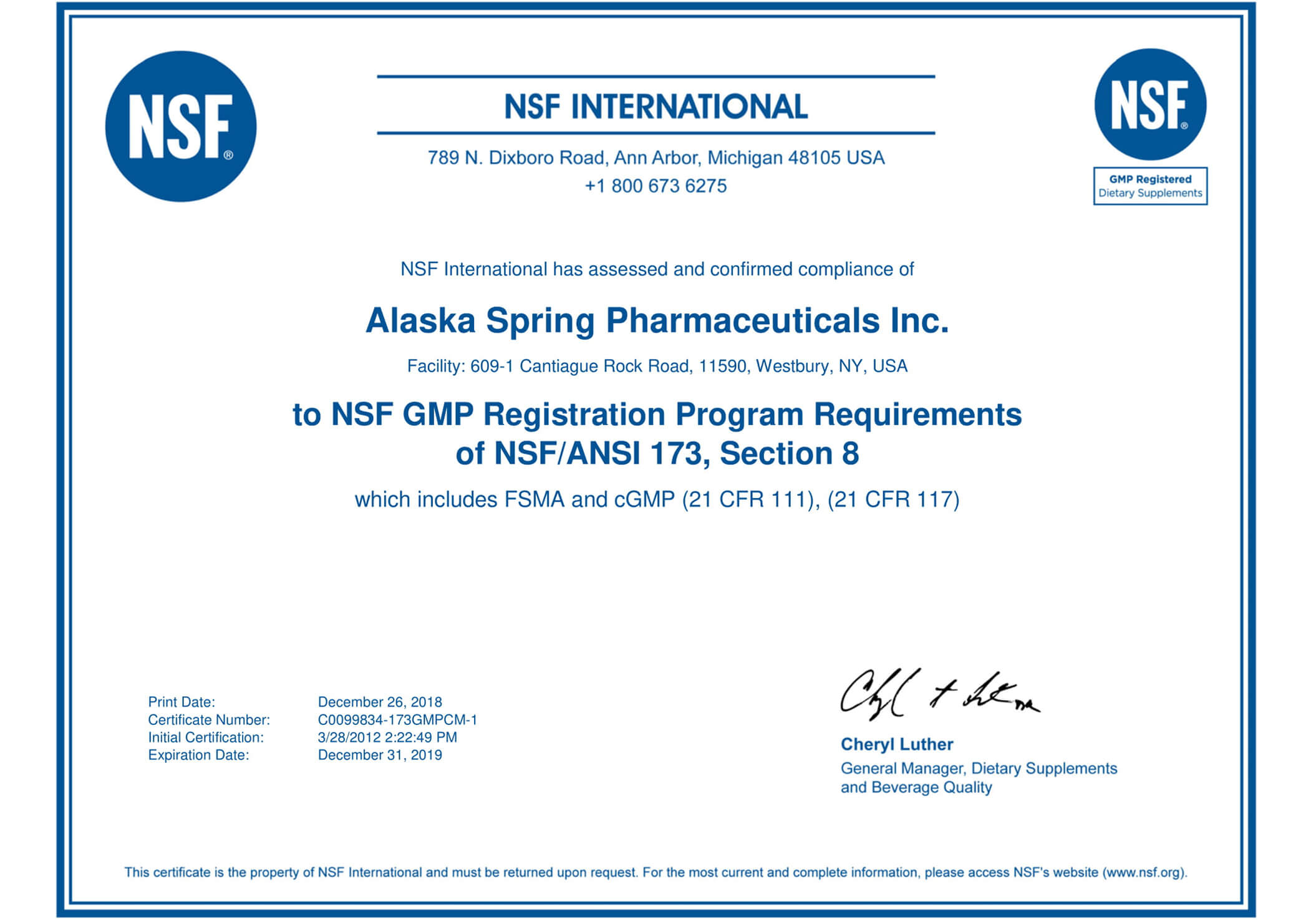 Certificate of NSF International