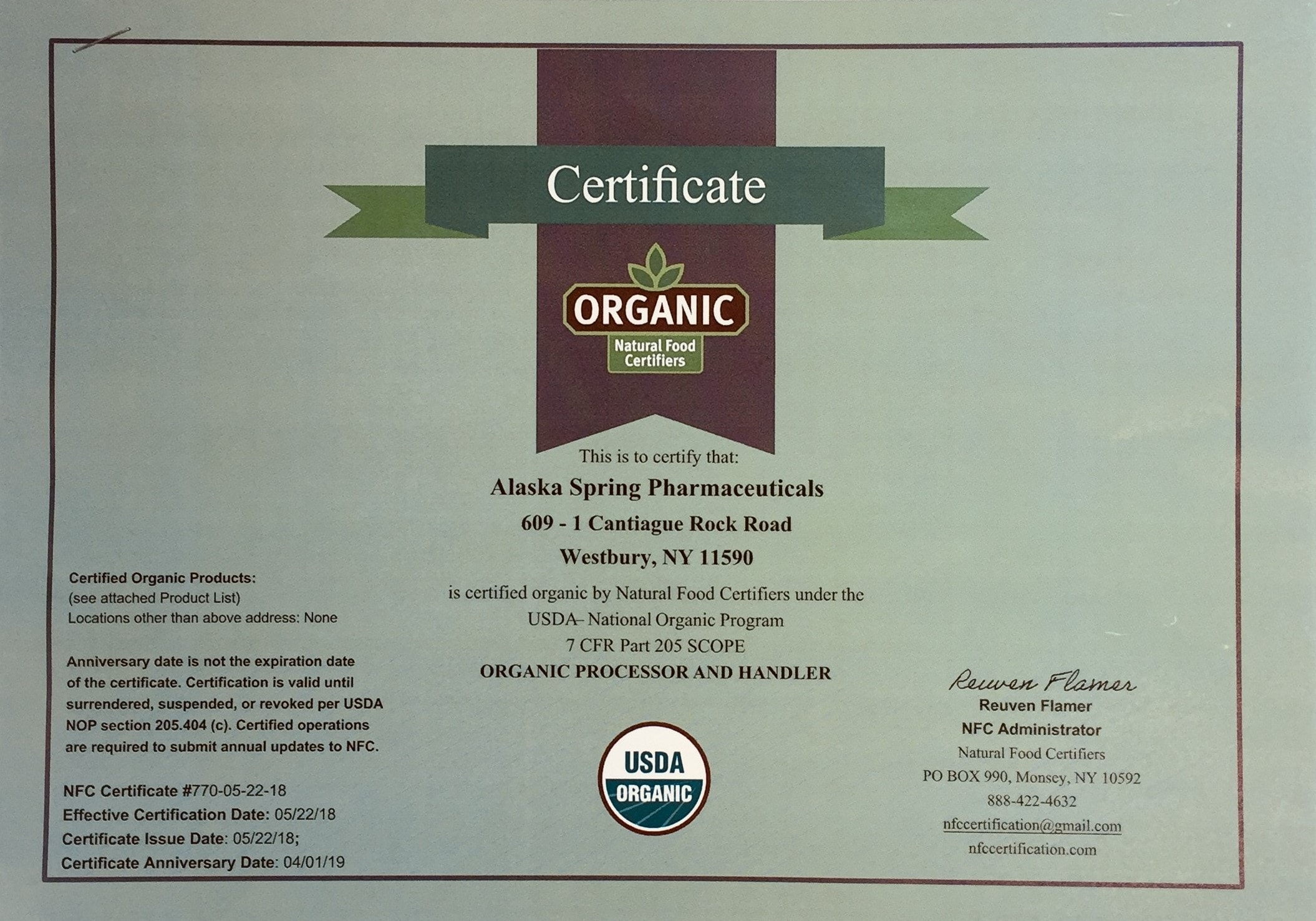 Certificate of Organic Natural Food